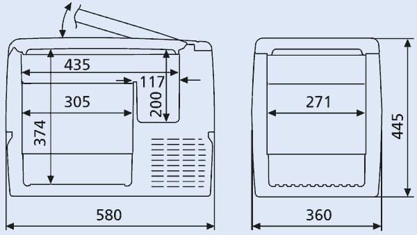 dimensiones de waeco mobicool fr40