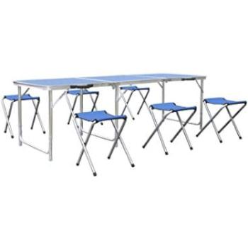 comprar mesa grande plegable de aluminio con sillas para 6 y 8 personas.