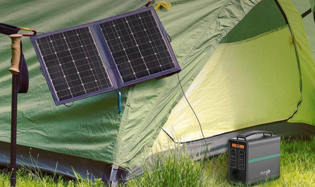 Generador solar portátil Ryme Automotive con 320Wh de potencia y 100.000mAh de almacenamiento de energía o capacidad de almacenamiento de electricidad para su uso como generador y estación de energía portátil.