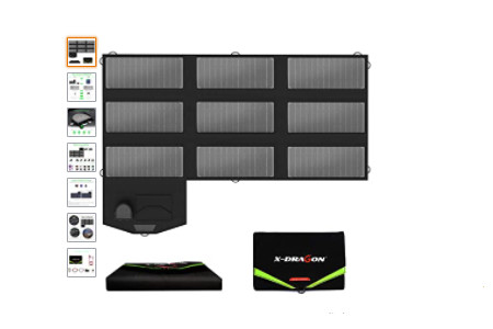 panel solar plegable y portatil que puedes llevar a cualquier lugar. Plegado mide algo similar a una carpeta DIN A 4 y su potencia es de 70w 18V